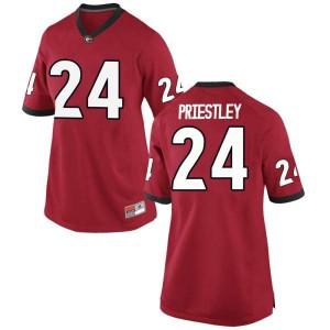 Women Georgia Bulldogs #24 Nathan Priestley Red Replica College Football Jersey 369579-959