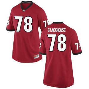 Women Georgia Bulldogs #78 Nazir Stackhouse Red Game College Football Jersey 706897-686