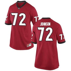 Women Georgia Bulldogs #72 Netori Johnson Red Game College Football Jersey 367280-877