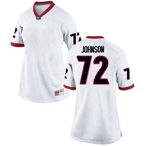 Women Georgia Bulldogs #72 Netori Johnson White Replica College Football Jersey 307729-885