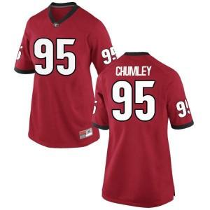 Women Georgia Bulldogs #95 Noah Chumley Red Replica College Football Jersey 760850-662