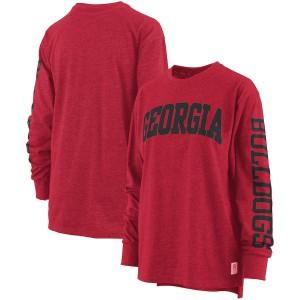 Women Georgia Bulldogs Red Pressbox Long Sleeve Two-Hit Canyon College Football T-Shirt 940331-755