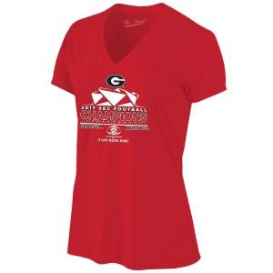 Women Georgia Bulldogs 2017 SEC Football Conference Red s Locker Room V-Neck Champion College Football T-Shirt 854207-403