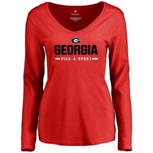 Women Georgia Bulldogs Custom Sport Wordmark Red Long Sleeve College Football T-Shirt 936109-643