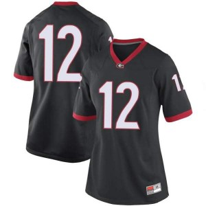 Women Georgia Bulldogs #12 Tommy Bush Black Replica College Football Jersey 417981-565