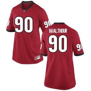 Women Georgia Bulldogs #90 Tramel Walthour Red Replica College Football Jersey 513918-275