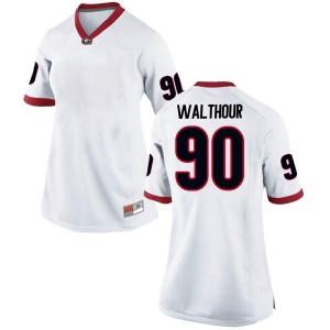 Women Georgia Bulldogs #90 Tramel Walthour White Replica College Football Jersey 746152-606
