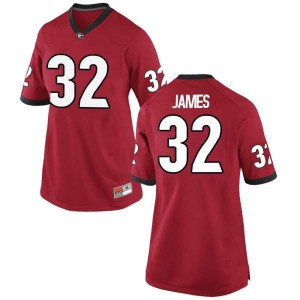 Women Georgia Bulldogs #32 Ty James Red Game College Football Jersey 889148-191