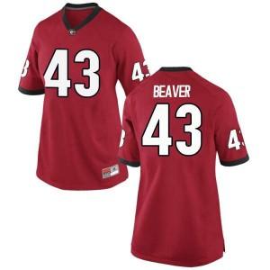 Women Georgia Bulldogs #43 Tyler Beaver Red Replica College Football Jersey 301564-600