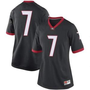 Women Georgia Bulldogs #7 Tyrique Stevenson Black Replica College Football Jersey 533462-418