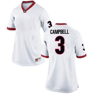 Women Georgia Bulldogs #3 Tyson Campbell White Replica College Football Jersey 677368-926