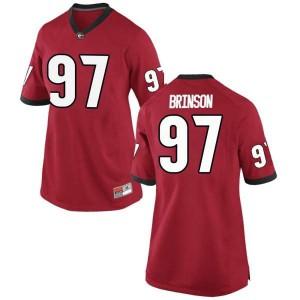 Women Georgia Bulldogs #97 Warren Brinson Red Game College Football Jersey 777369-667