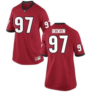 Women Georgia Bulldogs #97 Warren Brinson Red Replica College Football Jersey 332315-490