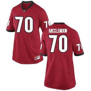 Women Georgia Bulldogs #70 Warren McClendon Red Replica College Football Jersey 263874-403
