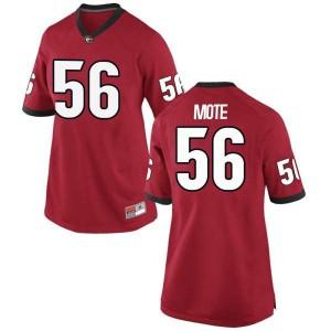 Women Georgia Bulldogs #56 William Mote Red Replica College Football Jersey 799590-462