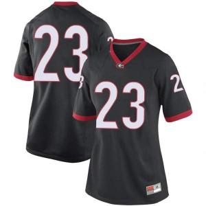 Women Georgia Bulldogs #23 Willie Erdman Black Replica College Football Jersey 148755-504