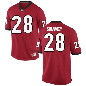 Youth Georgia Bulldogs #28 Anthony Summey Red Game College Football Jersey 113357-410