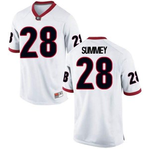 Youth Georgia Bulldogs #28 Anthony Summey White Replica College Football Jersey 472438-721