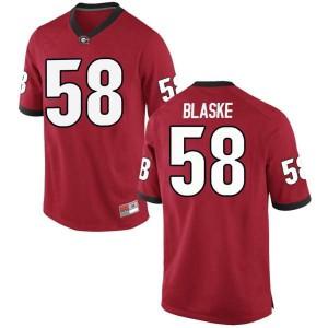 Youth Georgia Bulldogs #58 Austin Blaske Red Game College Football Jersey 804300-687