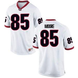Youth Georgia Bulldogs #85 Cameron Moore White Replica College Football Jersey 524886-901