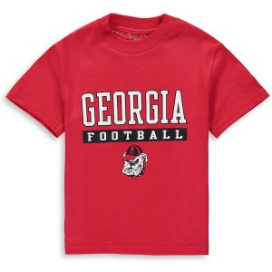 Youth Georgia Bulldogs Red Champion Football Drop College Football T-Shirt 201292-164
