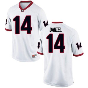 Youth Georgia Bulldogs #14 DJ Daniel White Game College Football Jersey 754776-540