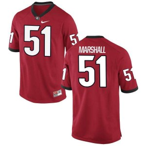 Youth Georgia Bulldogs #51 David Marshall Red Authentic College Football Jersey 353660-295