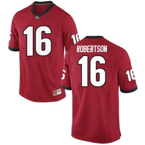 Youth Georgia Bulldogs #16 Demetris Robertson Red Replica College Football Jersey 997626-845