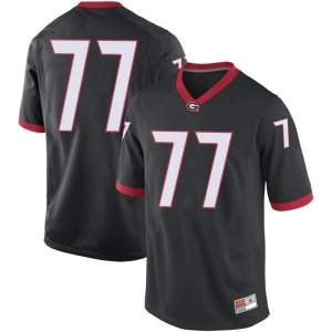 Youth Georgia Bulldogs #77 Devin Willock Black Replica College Football Jersey 460362-907