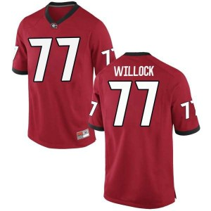 Youth Georgia Bulldogs #77 Devin Willock Red Replica College Football Jersey 956528-375