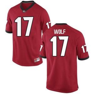 Youth Georgia Bulldogs #17 Eli Wolf Red Replica College Football Jersey 399884-122
