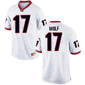 Youth Georgia Bulldogs #17 Eli Wolf White Replica College Football Jersey 358080-507
