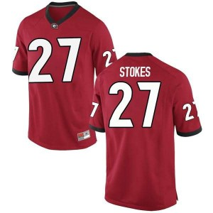 Youth Georgia Bulldogs #27 Eric Stokes Red Replica College Football Jersey 693862-676