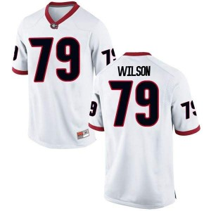 Youth Georgia Bulldogs #79 Isaiah Wilson White Replica College Football Jersey 867738-116