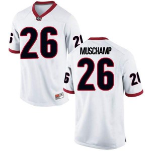 Youth Georgia Bulldogs #26 Jackson Muschamp White Replica College Football Jersey 620402-604