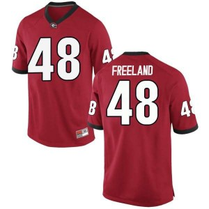 Youth Georgia Bulldogs #48 Jarrett Freeland Red Replica College Football Jersey 260382-911