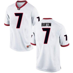 Youth Georgia Bulldogs #7 Jermaine Burton White Game College Football Jersey 147831-923