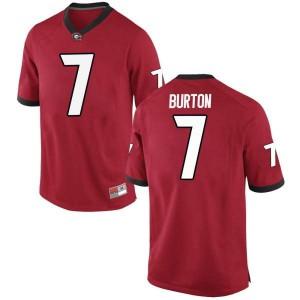Youth Georgia Bulldogs #7 Jermaine Burton Red Replica College Football Jersey 216098-285