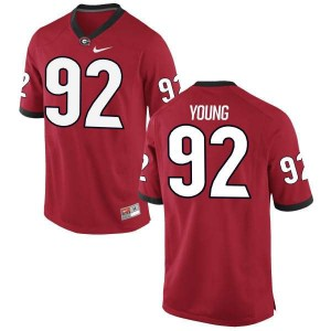 Youth Georgia Bulldogs #92 Justin Young Red Game College Football Jersey 500276-810