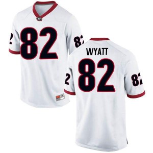 Youth Georgia Bulldogs #82 Kolby Wyatt White Game College Football Jersey 403923-462