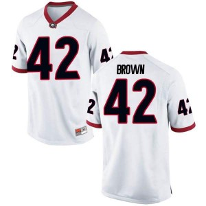 Youth Georgia Bulldogs #42 Matthew Brown White Game College Football Jersey 336190-974