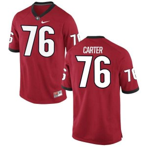 Youth Georgia Bulldogs #76 Michail Carter Red Authentic College Football Jersey 251701-873