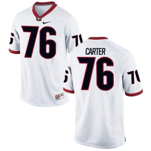 Youth Georgia Bulldogs #76 Michail Carter White Replica College Football Jersey 892885-690