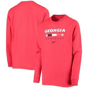 Youth Georgia Bulldogs Team Bar 2-Hit Red Long Sleeve College Football T-Shirt 212529-583