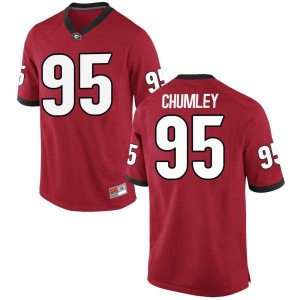 Youth Georgia Bulldogs #95 Noah Chumley Red Game College Football Jersey 830461-823