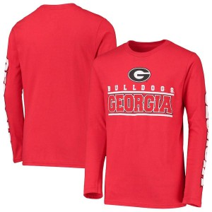 Youth Georgia Bulldogs Transition Two-Hit Red Long Sleeve College Football T-Shirt 277016-778