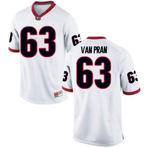 Youth Georgia Bulldogs #63 Sedrick Van Pran White Game College Football Jersey 155385-228