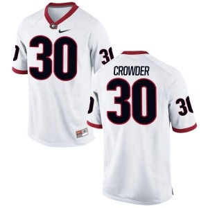 Youth Georgia Bulldogs #30 Tae Crowder White Authentic College Football Jersey 687290-631