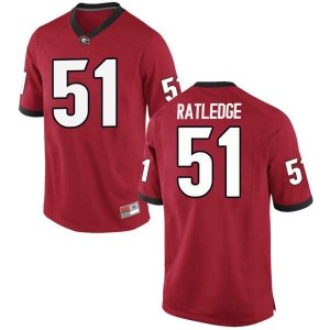 Youth Georgia Bulldogs #51 Tate Ratledge Red Replica College Football Jersey 432711-630