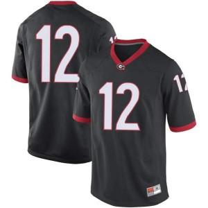 Youth Georgia Bulldogs #12 Tommy Bush Black Replica College Football Jersey 727233-262